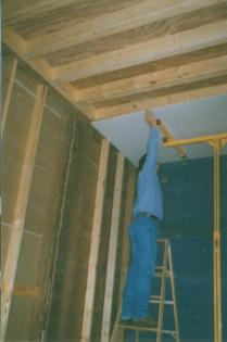 Dining room during drywall installation