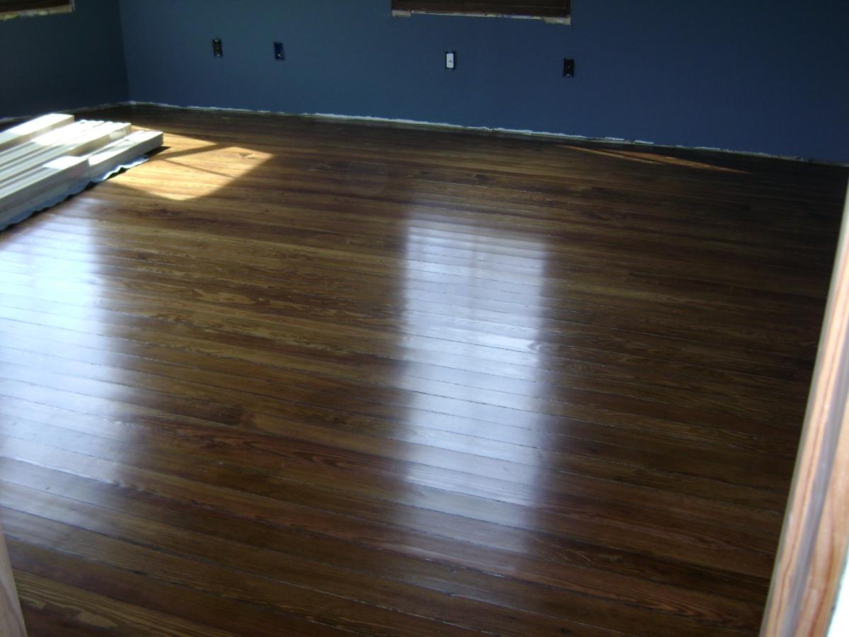 Re-finished long leaf pine flooring